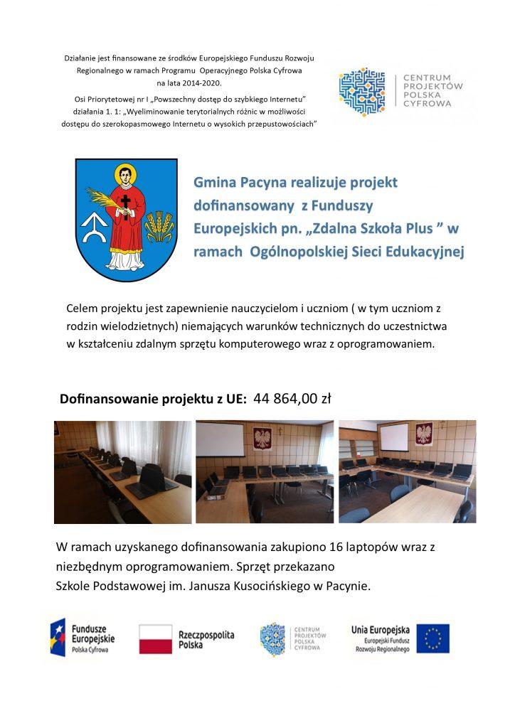 Plakat informujący o projekcie Zdalna Szkoła Plus. Na zdjęciu logo Gminy Pacyna oraz zdjęcia zakupionych komputerów.